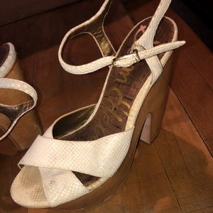 Sam Edelman White Leather and Cork Heeled Sandals